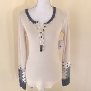 NWT! We The Free Large ivory mix print Henley top